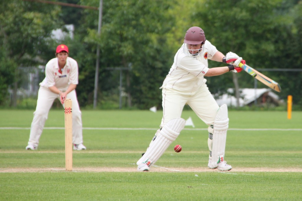 Monika Loveday (Germany) batting against Jersey