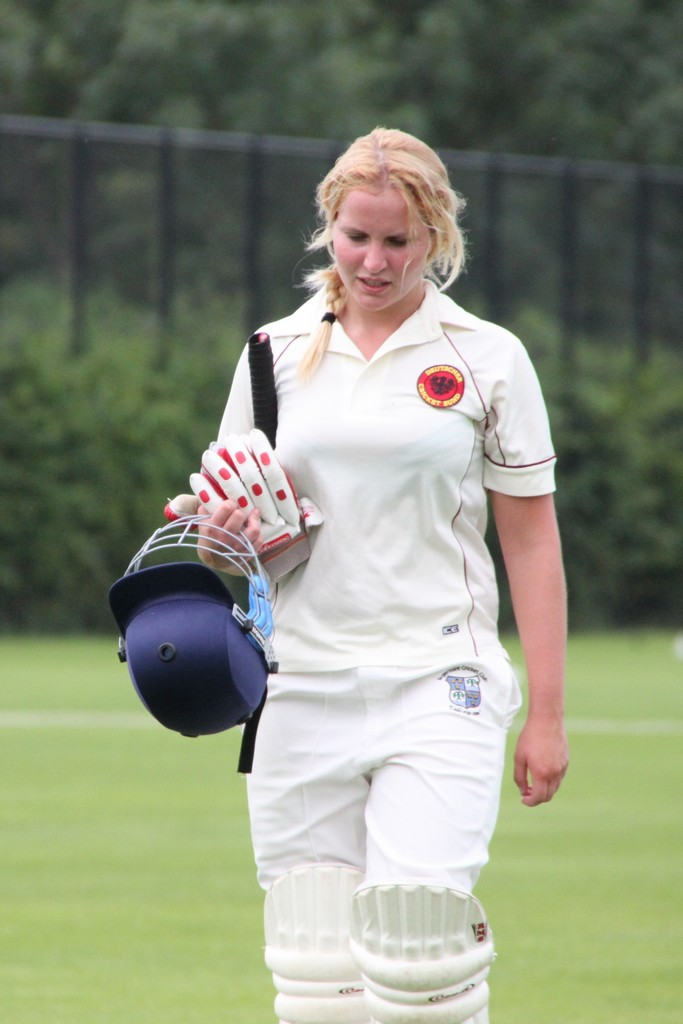 Jenny Langer (Germany) exhausted after a fine innings