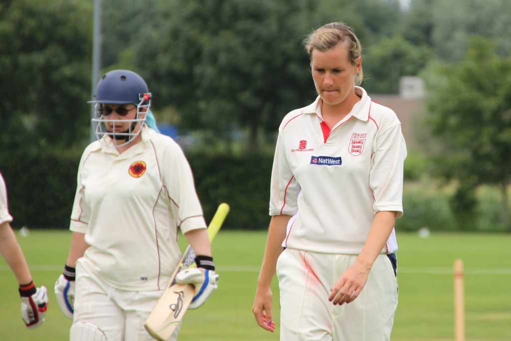 Kerstin Wellershaus (Germany) and Gemma Dunning (Jersey) at the end of first innings